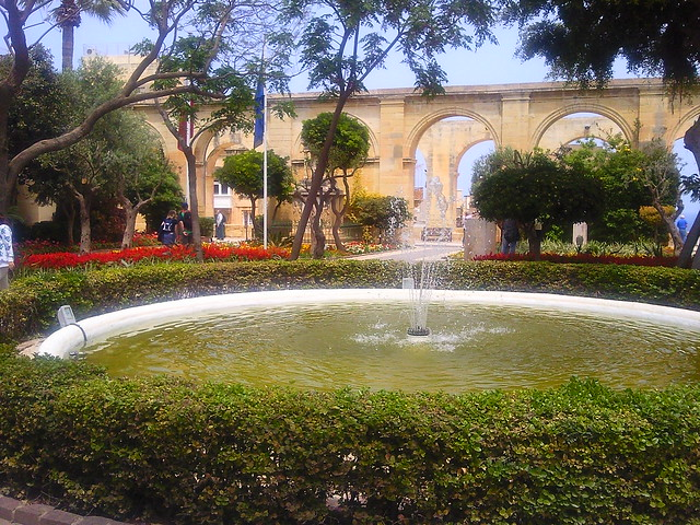 Fountain At Upper Barrakka Gardens Valletta Malta