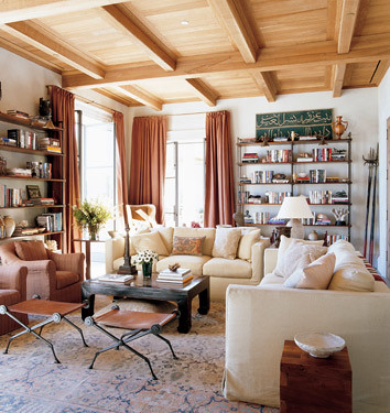Michael S. Smith: White living room + wood accents