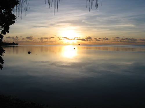 ocean sunset sea sky water clouds island pacific lagoon marshall tropical tropics kiribati atoll bonriki