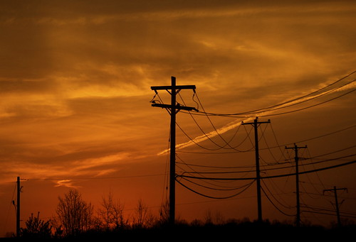 sunset clouds powerlines