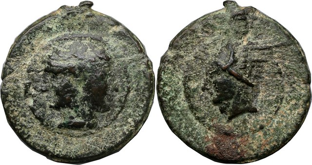 14/1 Aes Grave As. Janiform head of Dioscuri, Mercury.  AM#9826-300