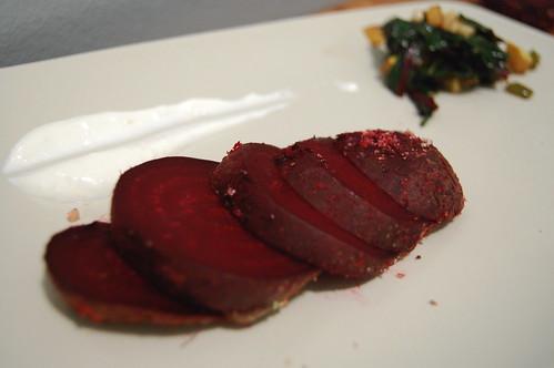 Salt roasted beets, beet greens, horseradish creme-friache