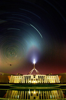 parliament house star trails, earth hour - edited