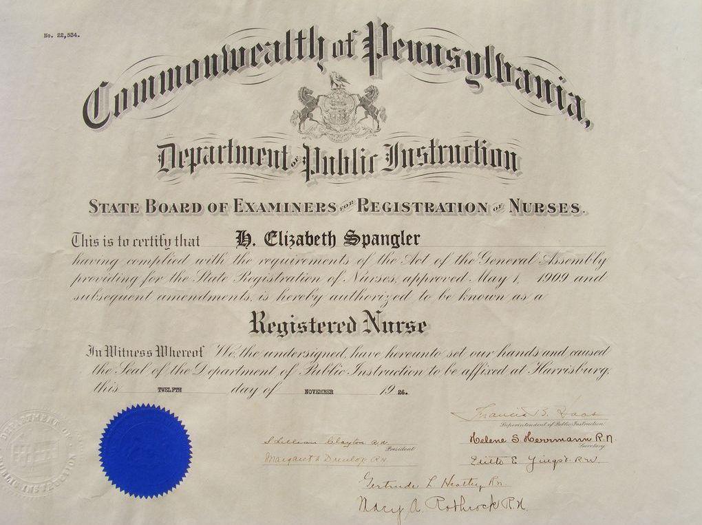 certificate nurse registered board nurses state pennsylvania nursing commonwealth registration examiners 1926 diplomas