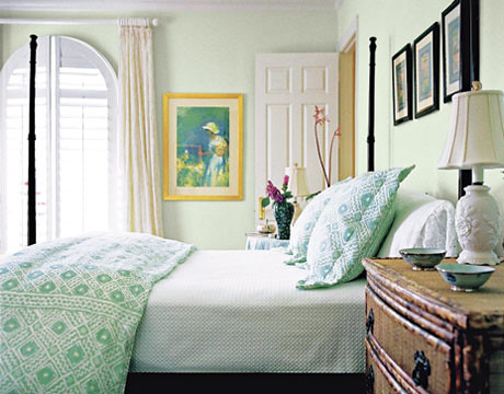 Lovely pale green + white bedroom: 'Parsley Tint' by ... - photo#3