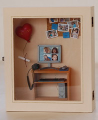 Personal computer miniature in closed shadow box