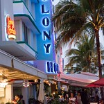 South Beach, Miami, Colony Hotel, street scene, Art Deco, neon