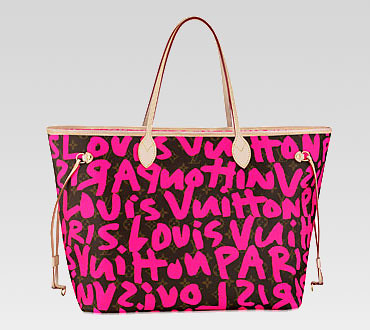Louis Vuitton handbag cruise monogram graffiti canvas neverfull gm m93701 (fuchsia)