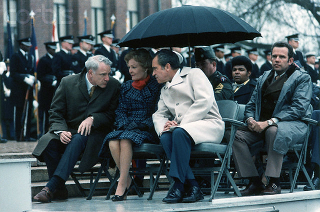 President Nixon and First Lady Pat Nixon attend a Vietnam Veterans' Day celebration