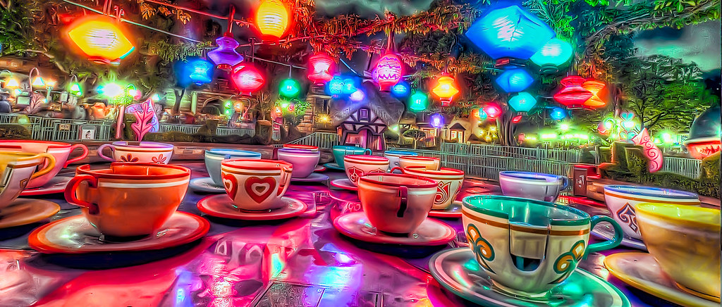 tea cups on a rainy night