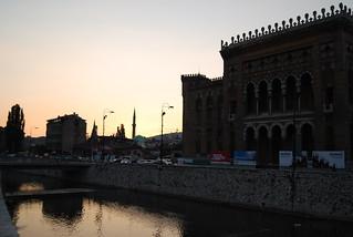 Sarajevo - sunset over the river