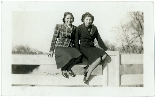 Two women on fence
