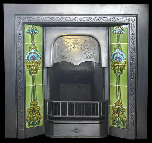 1-935 Art Nouveau tiles in cast iron reclaimed fireplace