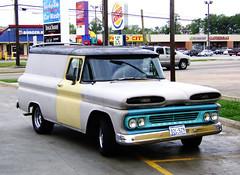 pickup truck(0.0), sport utility vehicle(0.0), truck(0.0), chevrolet task force(0.0), chevrolet(1.0), automobile(1.0), automotive exterior(1.0), van(1.0), vehicle(1.0), bumper(1.0), land vehicle(1.0), motor vehicle(1.0),