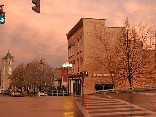 2001 sunset red orange usa ny newyork color colour building america evening upstatenewyork 2000s senecafalls canadagood