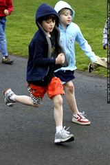 nick and a classmate in the jogathon