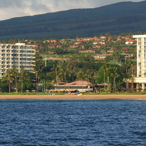 A view of Whalers Village in Ka'anapali from out on the water.
