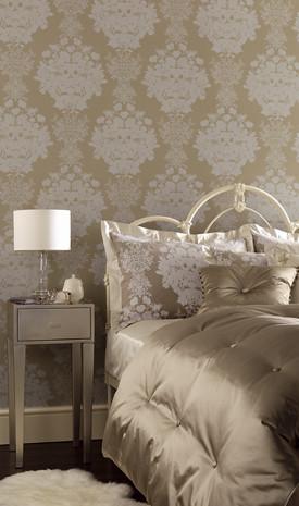 Neutral luxurious bedroom osborne little wallpaper for Neutral bedroom wallpaper