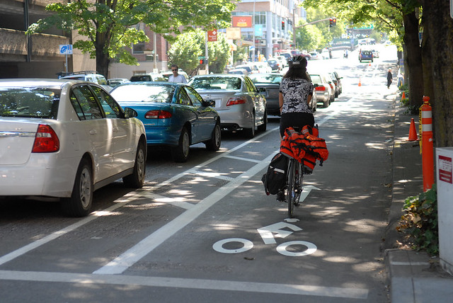 Broadway's parking-separated cycle track