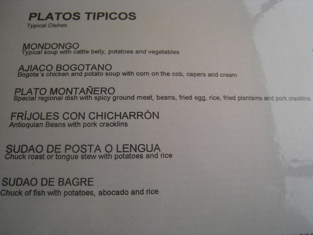 Typical Colombian dishes