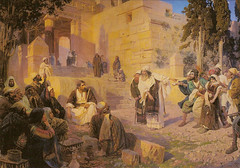 Russian Museum: Vasily Polenov. Christ and the Adulteress (Who is Sinless?) (1888)