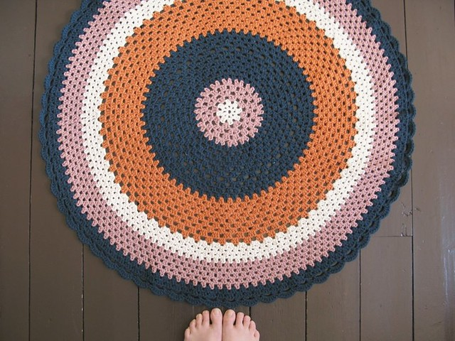 Aggie, original circular crochet floor throw | Emma Lamb