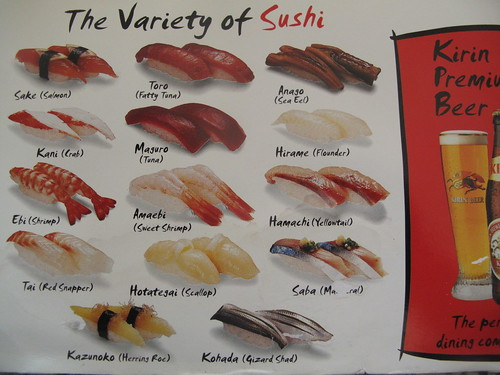 The fine art of making sushi kitchen butterfly for Sushi fish names