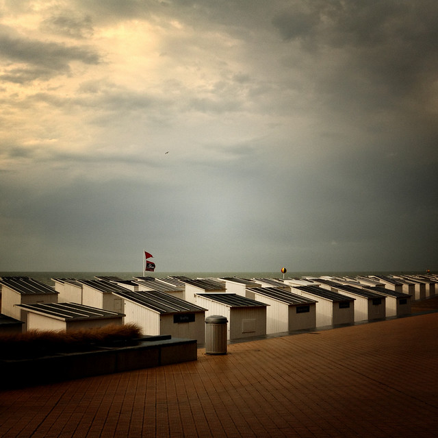 Ostend's beach huts under the rain
