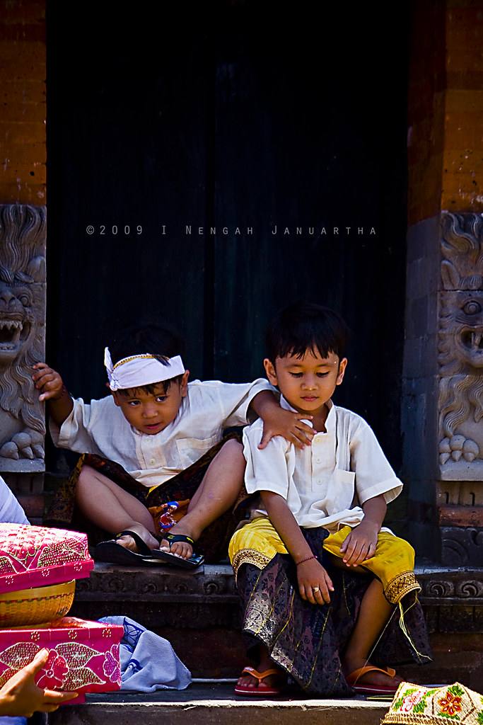 Two Balinese Kids at Tangkas Kori Agung Temple, Klungkung