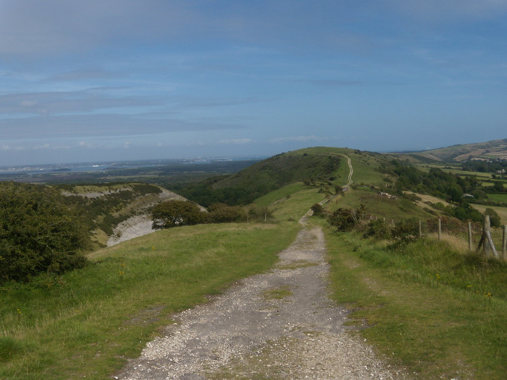 Along the ridge (looking back) Blue Pools just visible on the left. Corfe Castle to Lulworth Cove (Dorset)