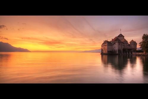 sunset lake castle water schweiz switzerland see sonnenuntergang suisse lac chillon chateau svizzera leman schloss hdr vaud genfersee vosplusbellesphotos