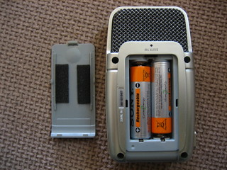 Zoom H2 back view, open battery container