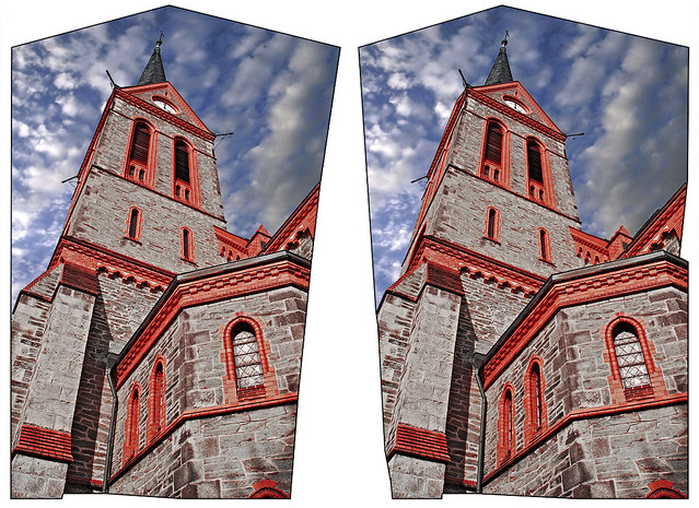 Neo-gothic Church :: Cross Eye Stereoscopic 3D ::