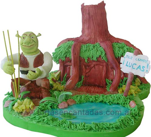 Shrek in his House in the Swamp Cake / Torta de Shrek