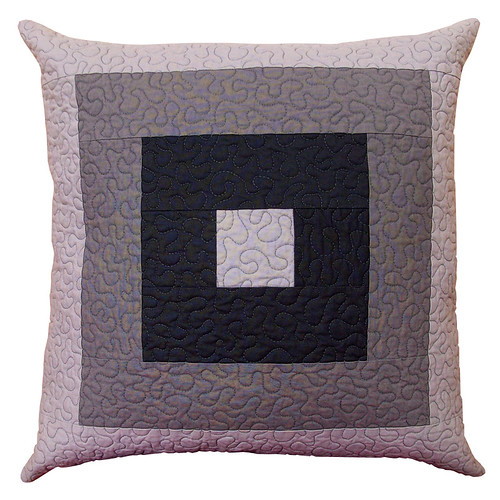 Mod Square - Quilted Pillow Cover in Shades of Gray