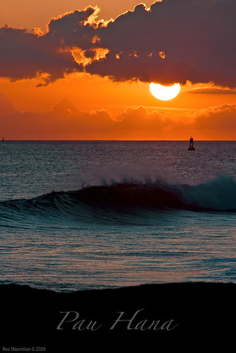 ocean sunset sky clouds hawaii waves oahu horizon shore honolulu buoy kakaakopark buoyant kaka'akopark