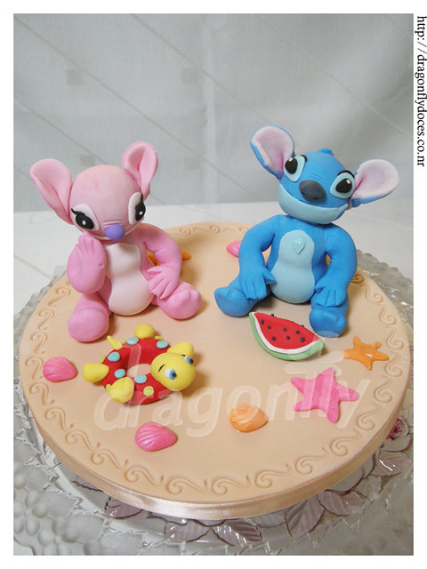 Stitch and Angel Cake Topper. | A cake topper made with ...