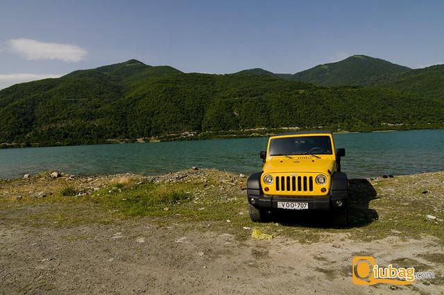Krajobraz w pobliżu twierdzy Ananuri, Gruzja