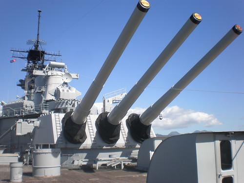 Mark 7 16-inch (50 cal.) gun barrels, USS Missouri, Pearl Harbor