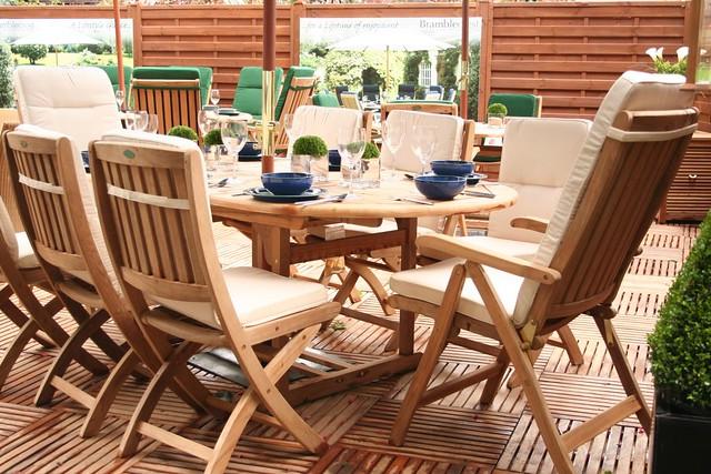 Teak garden furniture and wooden decking