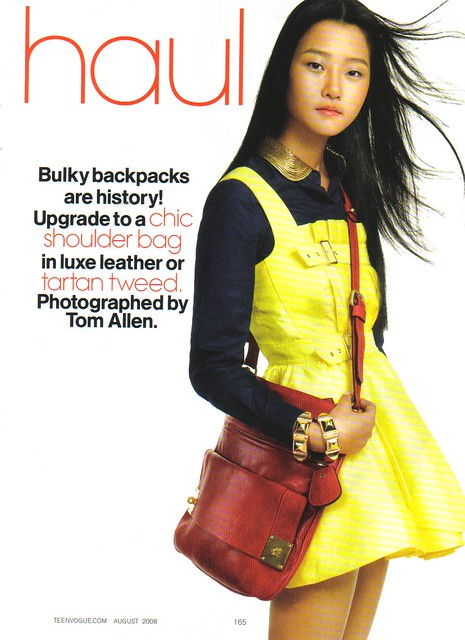 Teen vogue august 2008 hyoni kang study haul mulberry red bag marc