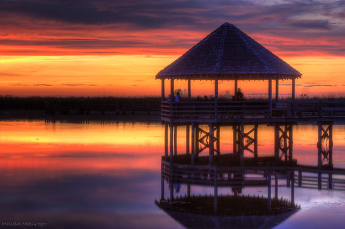 sunset reflection water pier hut sound currituck whaleheadclub thechallengefactory herowinner
