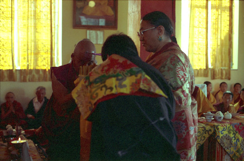 His Holiness Sakya Trizin making a mandala offering with His Holiness Dagchen Sakya as the recipient, Sakya College, Rajapur, India 1993 by Wonderlane