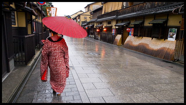 Maiko walking in Gion