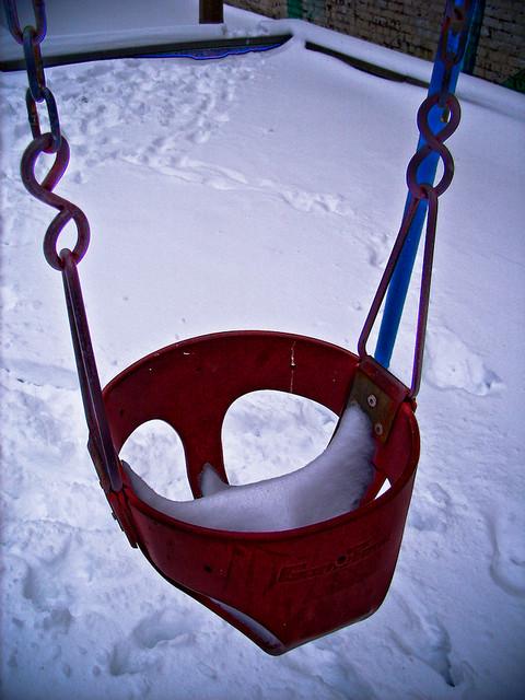 Snow on swing: 2