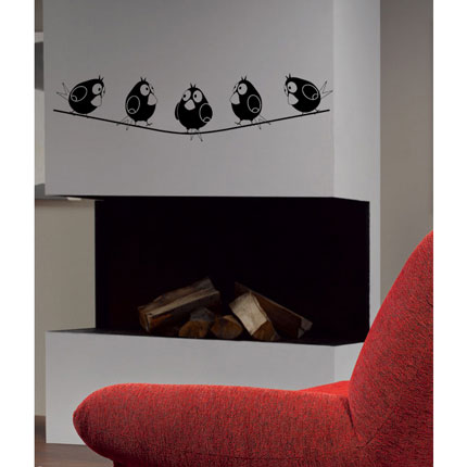 Five Birds on Wire - Wall Decal
