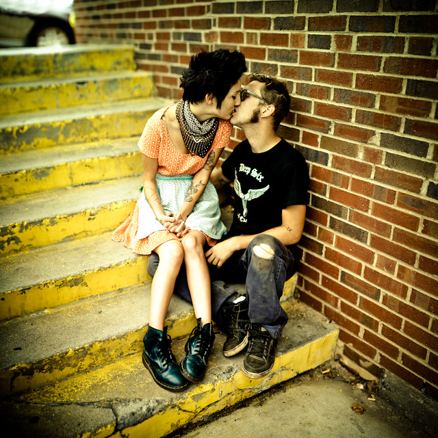 Kissing on the Stairs