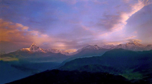 morning pink nepal sky cloud mountain nature sunrise peek himalaya pokhara annapurna fishtail
