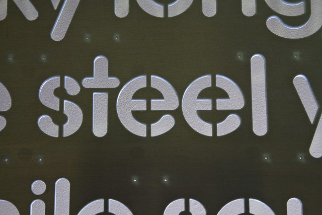 """Word Wall Panel Fresh From The WaterJet - """"steel"""" Closeup (Ironically in Aluminum)"""