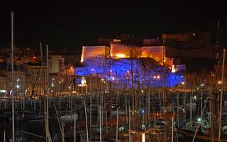 Image of  Fort Saint-Nicolas. france marseille nuit vieuxport dalbera fortsaintnicolas monumentéclairé